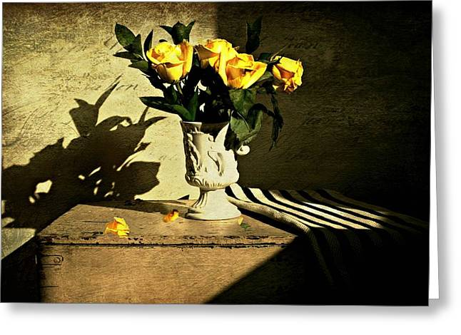 Table Top Still Life Greeting Cards - Roses on a Box Greeting Card by Diana Angstadt