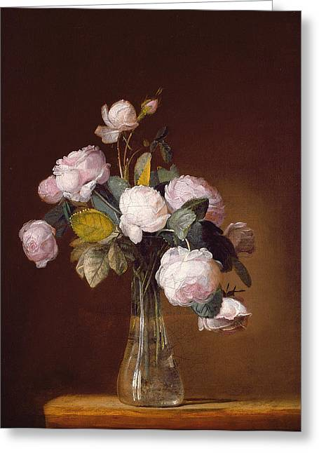 Glass Vase Greeting Cards - Roses On A Stone Ledge Greeting Card by Jean-Louis Prevost