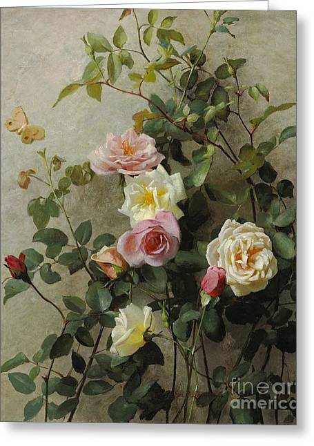 Beauty In Nature Paintings Greeting Cards - Roses on a Wall Greeting Card by George Cochran Lambdin