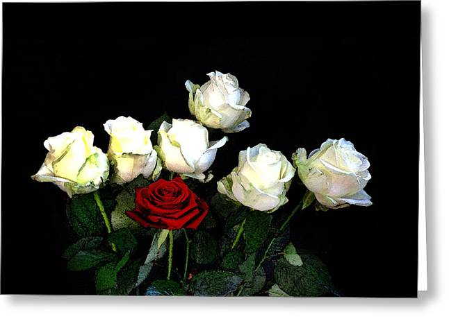 Roses Greeting Cards - Roses On Black Greeting Card by Mark Rogan