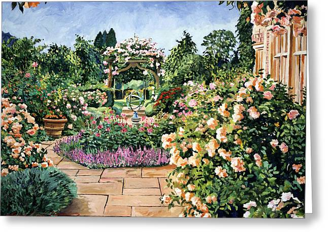 Gardenscapes Greeting Cards - Roses Orange Greeting Card by David Lloyd Glover