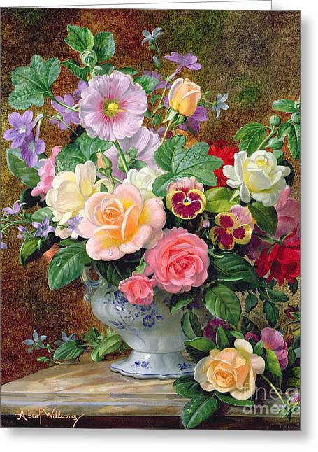 Still Life Glass Greeting Cards - Roses pansies and other flowers in a vase Greeting Card by Albert Williams