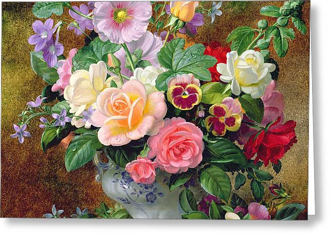 Roses pansies and other flowers in a vase Greeting Card by Albert Williams