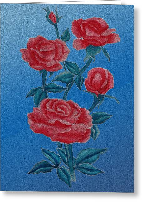 Roses Tapestries - Textiles Greeting Cards - Roses Greeting Card by Phongsri Smeaton