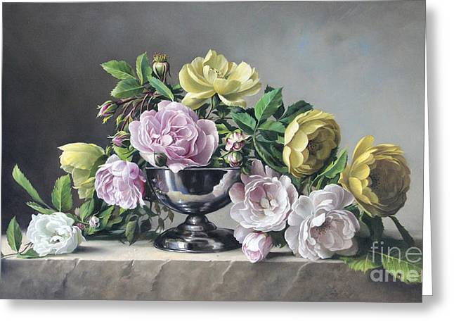 Live Paintings Greeting Cards - Roses Piramide Greeting Card by Pieter Wagemans