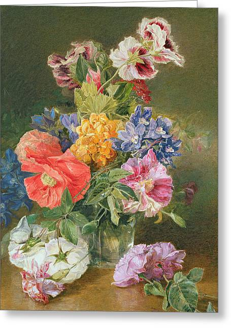 Cheery Greeting Cards - Roses Poppy and Pelargonia Greeting Card by James Holland