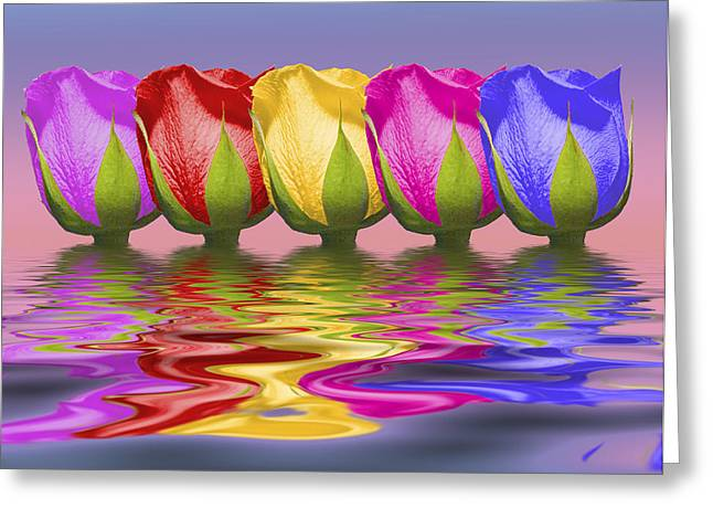 Rainbow Row Greeting Cards - Roses Rising Greeting Card by Tom Mc Nemar