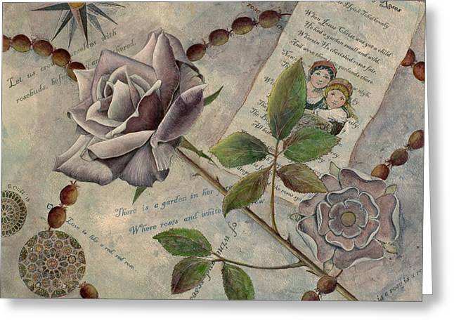 Rosary Mixed Media Greeting Cards - Roses Greeting Card by Sandy Clift