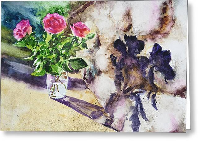 Decor.pink.green Flowers Greeting Cards - Roses Shadows Impressionism Greeting Card by Irina Sztukowski