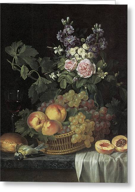 Still-life With A Basket Greeting Cards - Roses stocks Jasmine and other flowers in a vase Greeting Card by Jean-pierre-xavier Bidauld