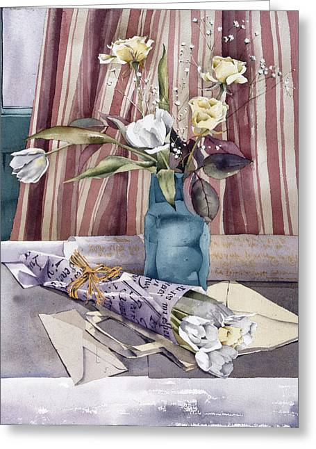 """indoor"" Still Life Greeting Cards - Roses Tulips And Striped Curtains Greeting Card by Julia Rowntree"