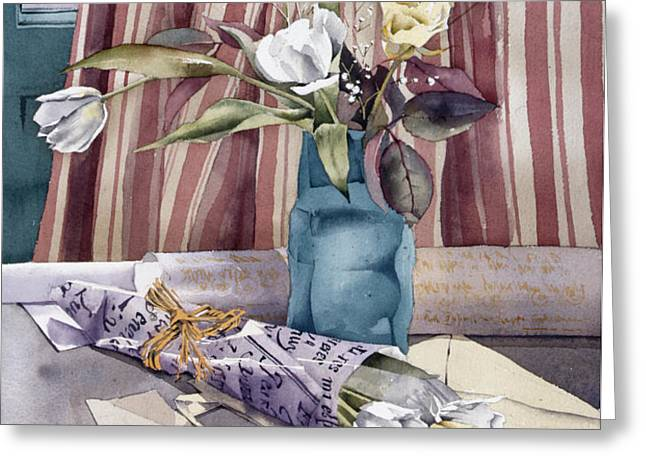 Roses Tulips And Striped Curtains Greeting Card by Julia Rowntree
