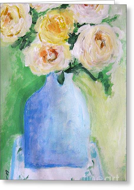 Vintage Painter Mixed Media Greeting Cards - Roses Greeting Card by Venus