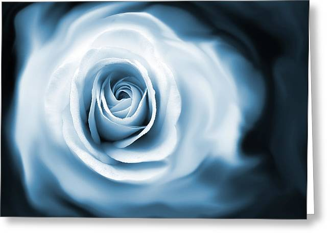 Abstract Rose Abstract Greeting Cards - Roses Whispers Blue Greeting Card by Jennie Marie Schell