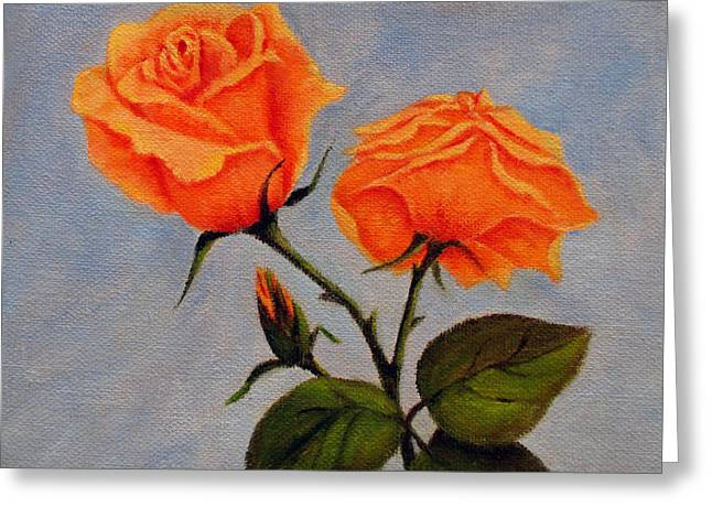 Roses With Bud Greeting Card by Roseann Gilmore