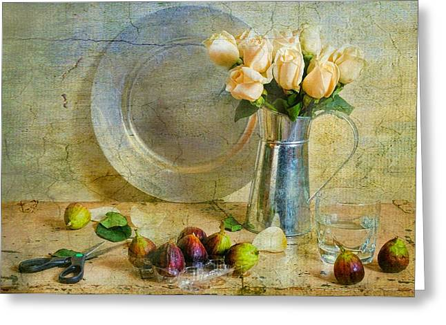 Fruit And Flowers Greeting Cards - Roses with Figs Greeting Card by Diana Angstadt