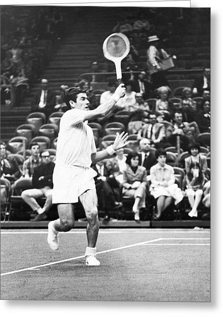 Tennis Match Greeting Cards - Rosewall Playing Tennis Greeting Card by Underwood Archives