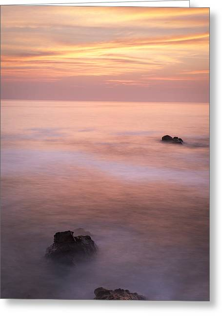 Beach At Night Greeting Cards - Rosey Sunset Greeting Card by Krzysztof Hanusiak