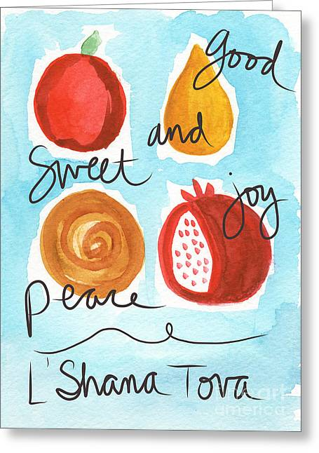 Good News Greeting Cards - Rosh Hashanah Blessings Greeting Card by Linda Woods