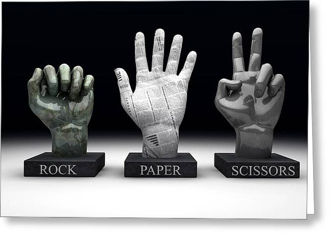 Scissors Greeting Cards - Roshambo - Rock Paper Scissors Greeting Card by Allan Swart