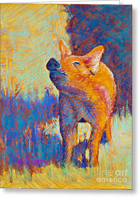 Pigs Pastels Greeting Cards - Rosie Greeting Card by Tracy L Teeter