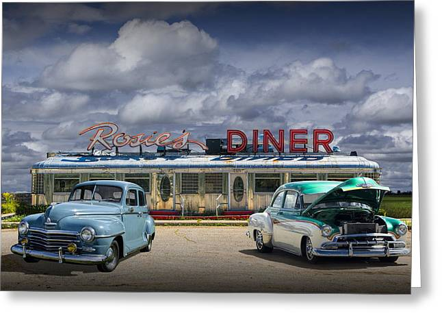 Rockford Greeting Cards - Rosies Diner Greeting Card by Randall Nyhof