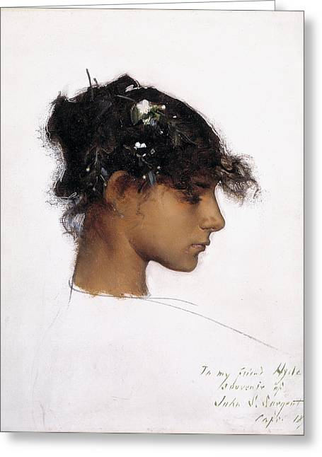 Girl Profile Greeting Cards - Rosina Ferrara - Head of a Capri Girl Greeting Card by John Singer Sargent