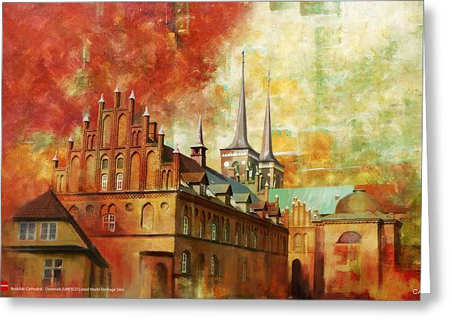 Denmark Greeting Cards - Roskilde Cathedral Greeting Card by Catf