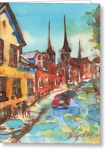 Watercolour Greeting Cards - Roskilde Greeting Card by Yevgenia Watts