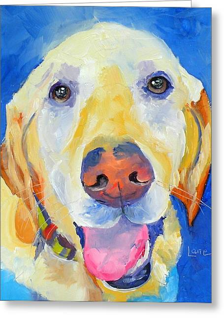 Fauvist Style Greeting Cards - ROSS the SUPER DOG Greeting Card by Saundra Lane Galloway