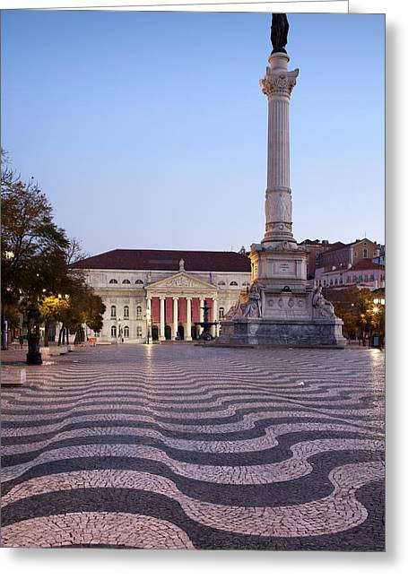 Theater Town Greeting Cards - Rossio Square at Dawn in Lisbon Greeting Card by Artur Bogacki