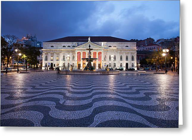 Theater Town Greeting Cards - Rossio Square at Night in Lisbon Greeting Card by Artur Bogacki