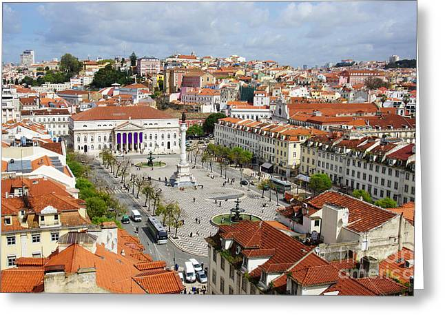 Red-roofed Buildings Greeting Cards - Rossio Square Greeting Card by Carlos Caetano