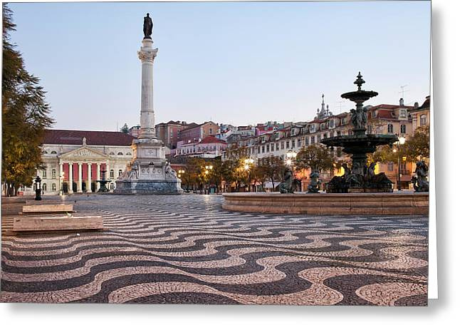 Theater Town Greeting Cards - Rossio Square in the Morning Greeting Card by Artur Bogacki