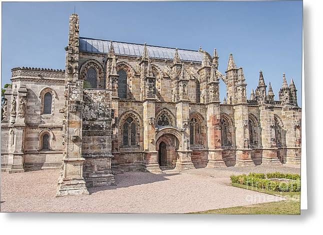 Medieval Temple Greeting Cards - Rosslyn Chapel in Scotland Greeting Card by Antony McAulay