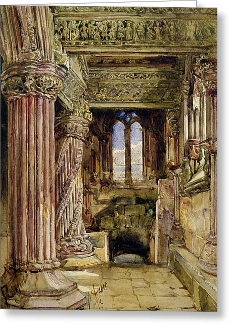 Gothic Drawings Greeting Cards - Rosslyn Chapel, Scotland Greeting Card by Alexander Jnr. Fraser