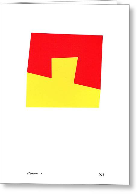 Kelly Mixed Media Greeting Cards - Rosso e Giallo Greeting Card by Moran  de Musee