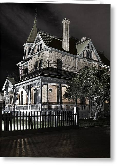 """haunted House"" Photographs Greeting Cards - Rosson house haunted Black and White Greeting Card by Dave Dilli"