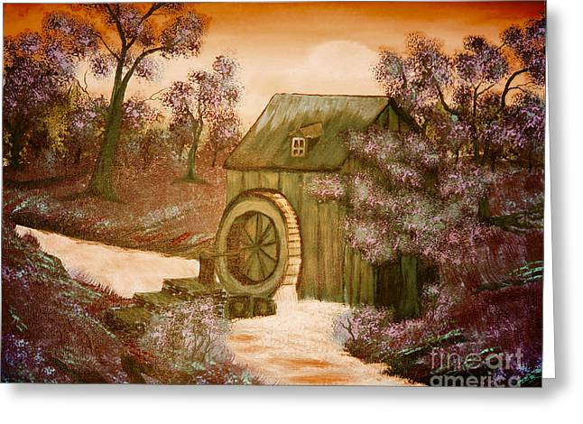 Bob Ross Paintings Greeting Cards - Rosss Watermill Greeting Card by Barbara Griffin