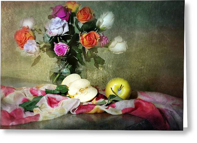 Silk Scarf Greeting Cards - Rosy Pallet Greeting Card by Diana Angstadt