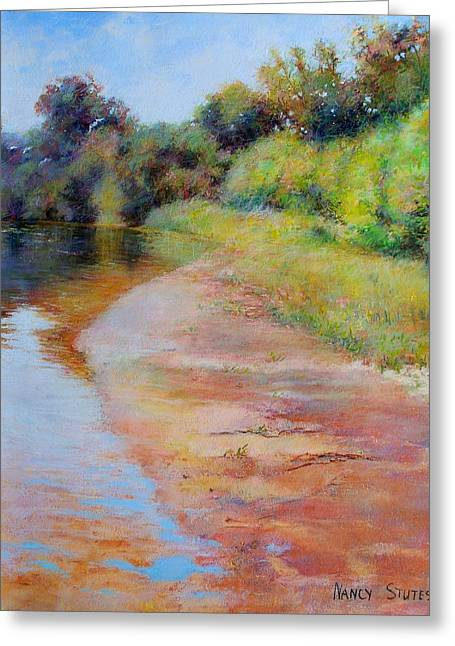 White River Scene Drawings Greeting Cards - Rosy River Greeting Card by Nancy Stutes