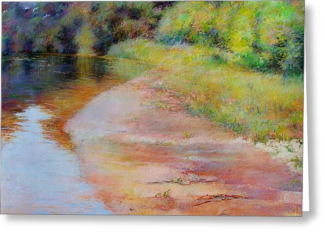 Rosy River Greeting Card by Nancy Stutes