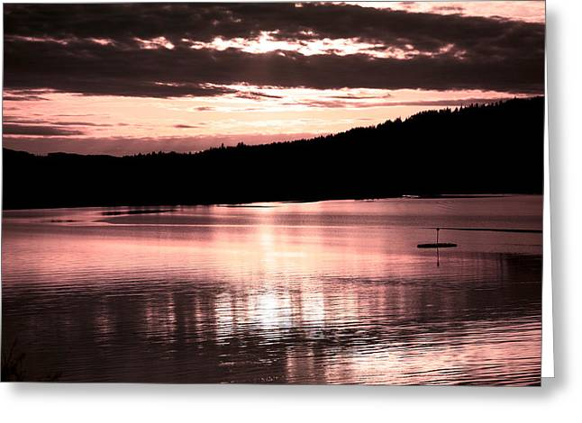 """sunset Photography"" Greeting Cards - Rosy Sunset Greeting Card by Bonnie Bruno"