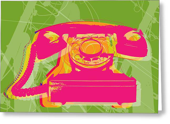 Warhol Art Greeting Cards - Rotary phone Greeting Card by Jean luc Comperat