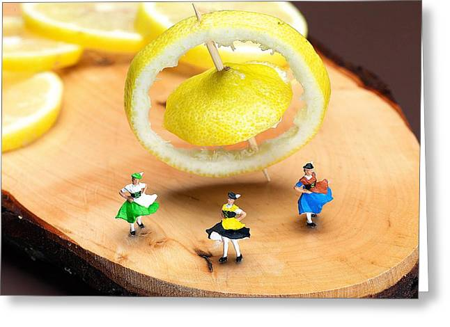 Creative People Greeting Cards - Rotating dancers and lemon gyroscope food physics Greeting Card by Paul Ge