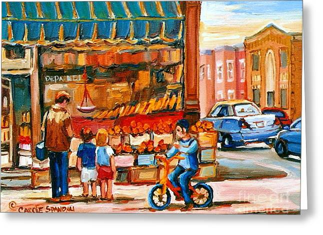 Roter's Fifties Fruit Store Vintage Montreal City Scene Paintings Greeting Card by Carole Spandau