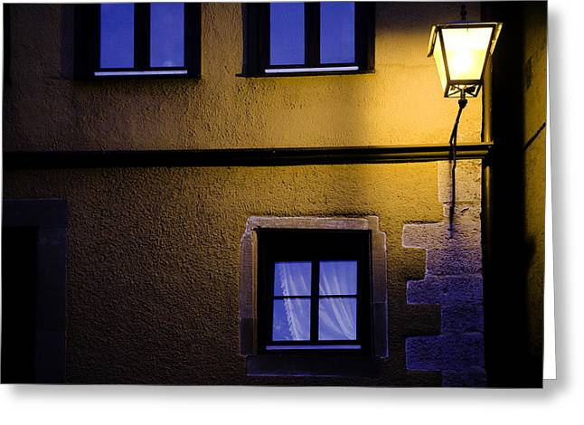 Rothenburg By Night Greeting Card by Joanna Madloch