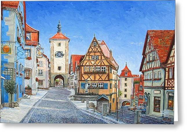 Germany Paintings Greeting Cards - Rothenburg Germany Greeting Card by Mike Rabe