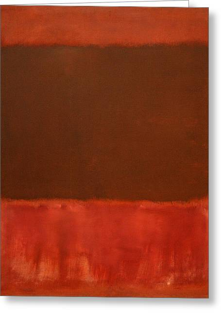 Cora Wandel Greeting Cards - Rothkos Mulberry And Brown Greeting Card by Cora Wandel