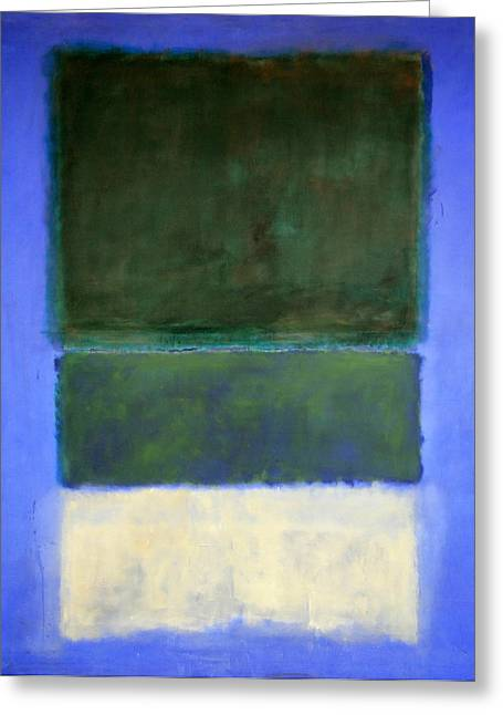 White And Green Greeting Cards - Rothkos No. 14 -- White And Greens In Blue Greeting Card by Cora Wandel